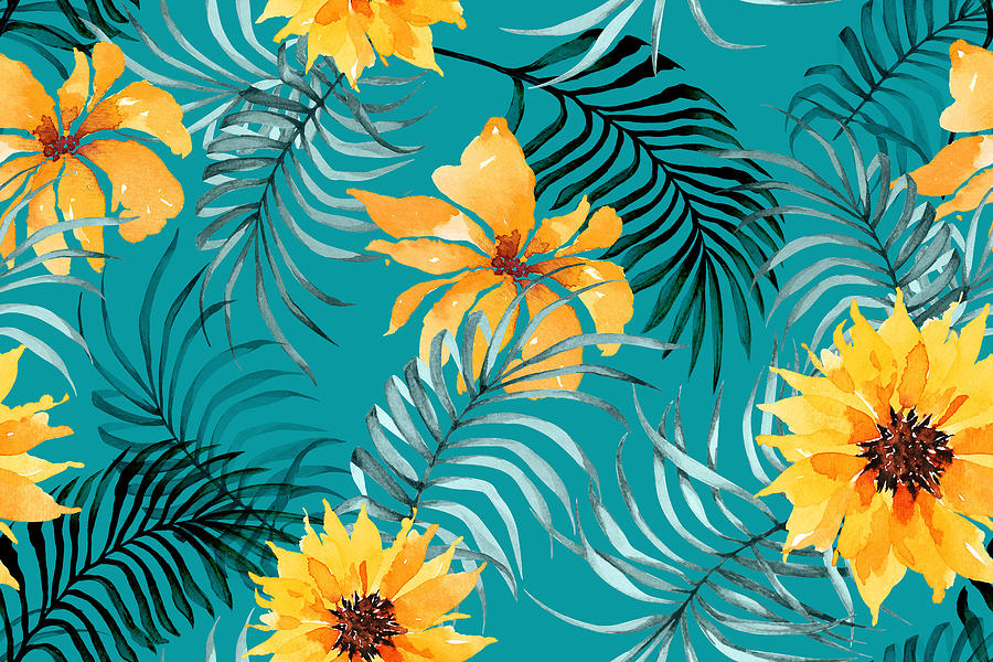 Seamless Pattern Of Sunflower And Palm Leaves Painted With Watercolors On Green Background Vintage Style. Hand Drawn Floral Pattern Illustration. Drawing