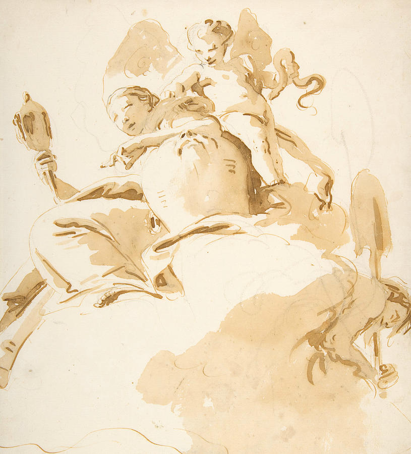 Italian Painters Drawing - Seated Woman With A Winged Putto 1 by Giovanni Battista Tiepolo