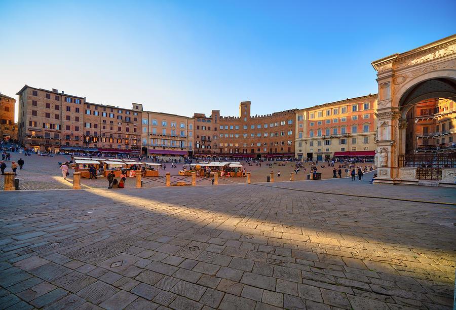 Siena Market at dusk, Piazza del Campo, Tuscany Photograph by Mauro Tandoi