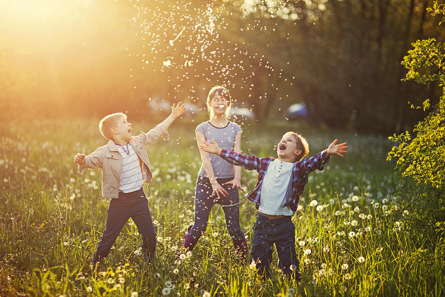 Sister and brothers playing in dandelion field Photograph by Imgorthand