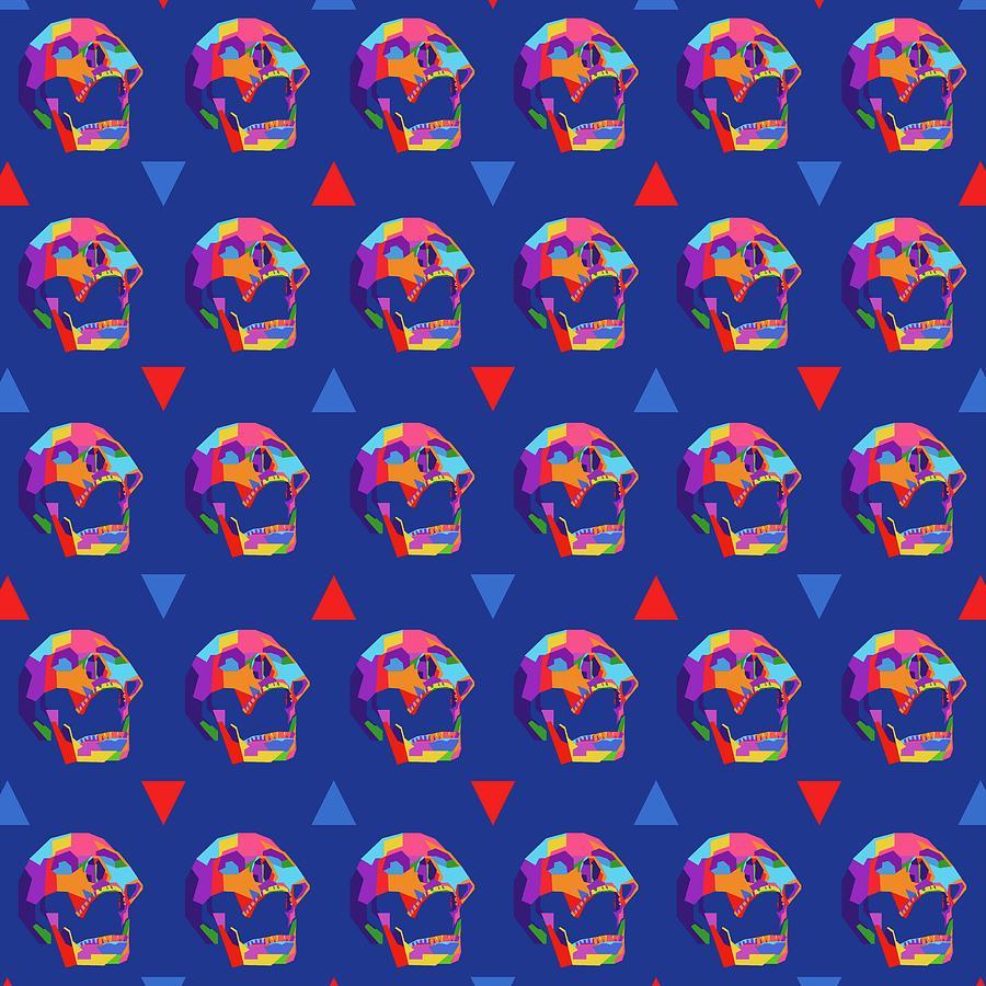 Skull Pattern Wpap Style Blue Background Digital Art