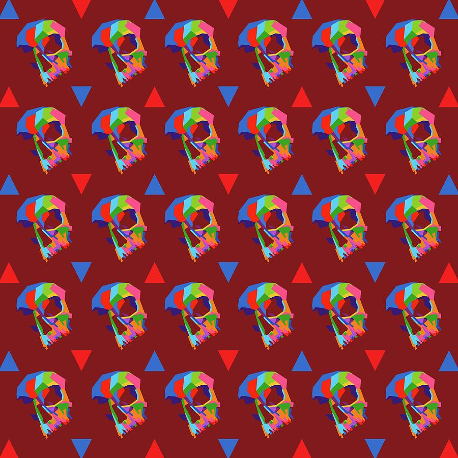 Skull Pattern Wpap Style Dark Red Background Digital Art