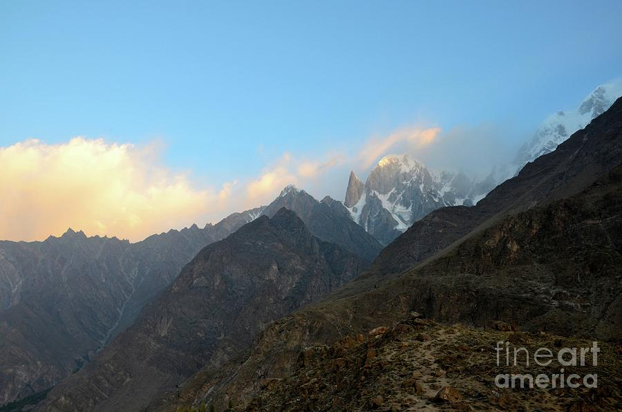 Snow Capped Mountains In Hunza Valley At Sunrise Gilgit-baltistan Pakistan Photograph