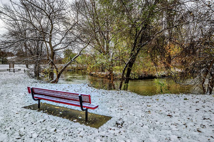 Snowy Bench on the Clinton River DSC_0835 by Michael Thomas