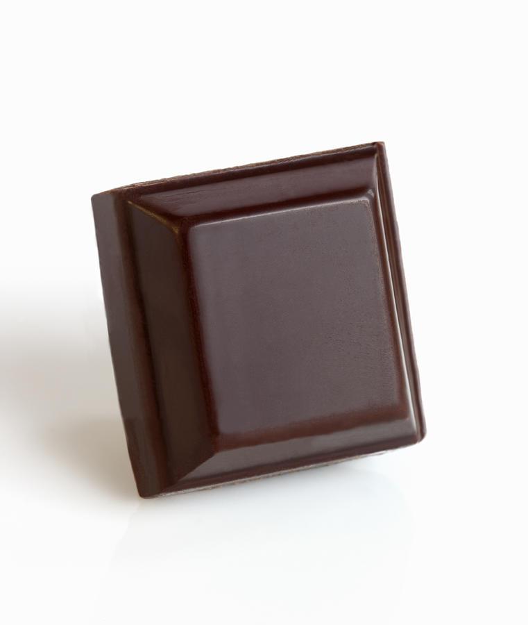 Square of dark chocolate. Photograph by Rosemary Calvert