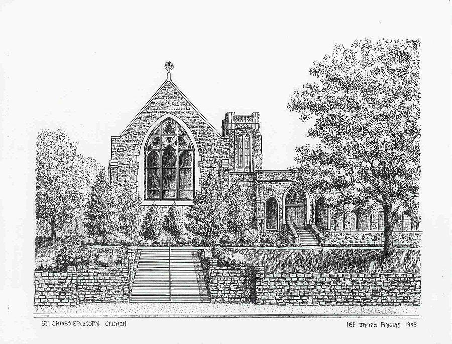 Church Drawing - St. James Episcopal Church by Lee Pantas