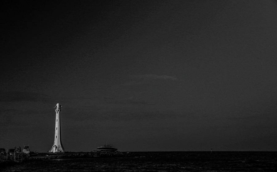 Monochrome Photograph - St Kilda Lighthouse  by Leigh Henningham