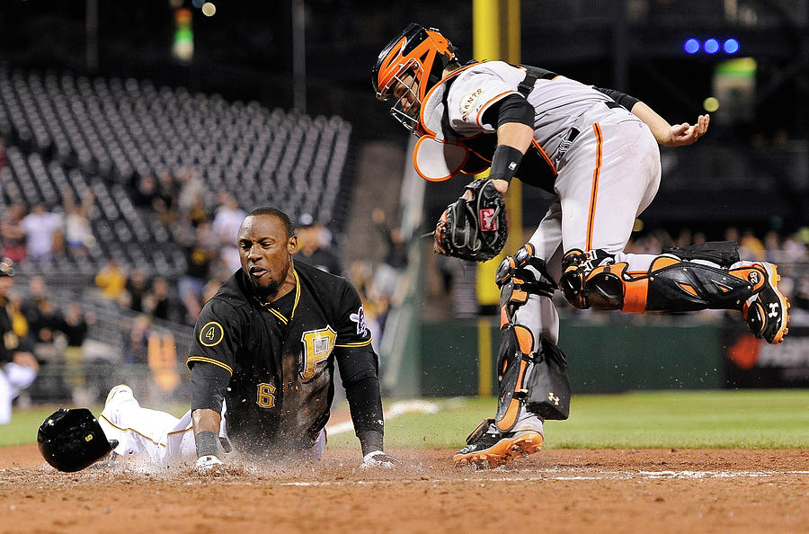 Starling Marte and Buster Posey Photograph by Joe Sargent