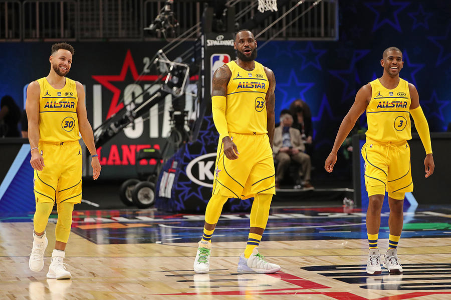 Stephen Curry, Chris Paul, and Lebron James Photograph by Joe Murphy