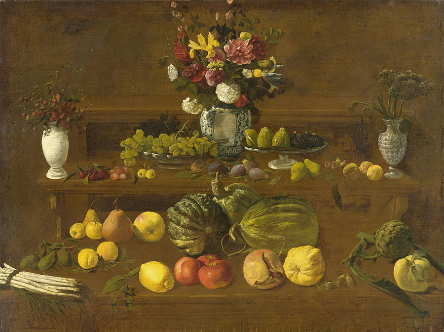 Giovanni Painting - Still Life With Flowers  Fruit And Vegetables  by Giovanni Battista Crescenzi