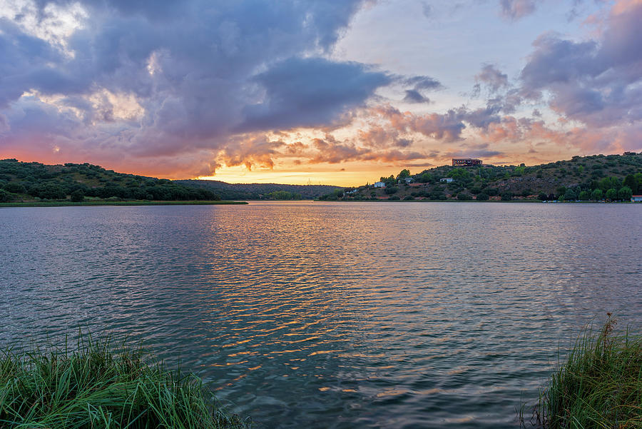 Laguna Photograph - Sunrise In The Lagoons Of Ruidera by Vicen Photography