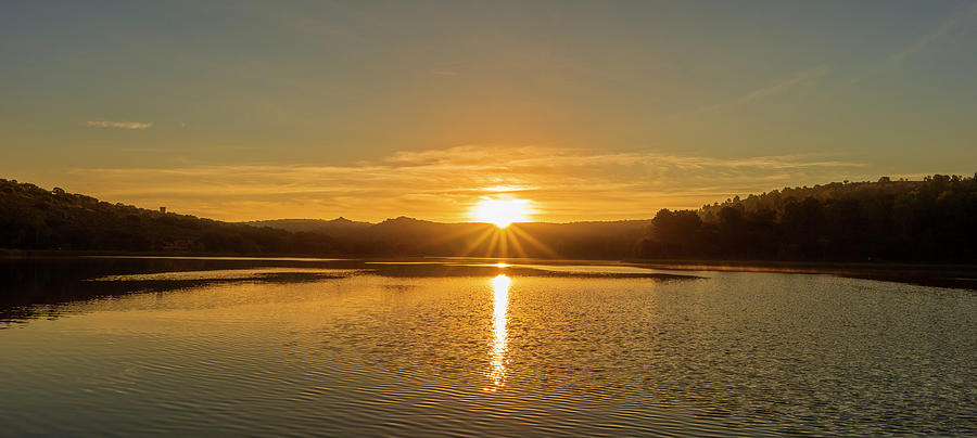 Laguna Photograph - Sunset In The Lagoons Of Ruidera by Vicen Photography