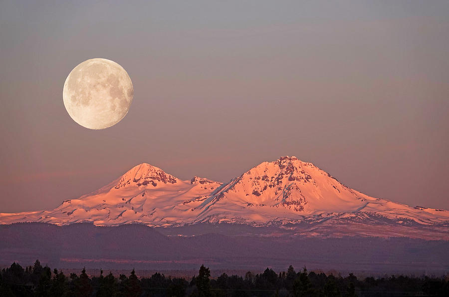 Super Moon Setting In Oregon Photograph