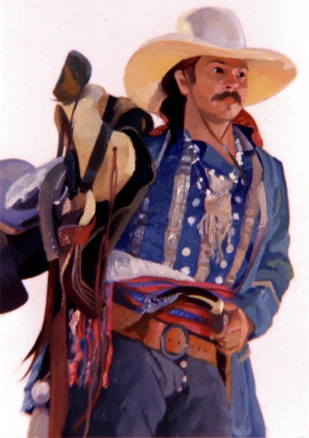 Mountain Men Painting - Taos Trader by Betty Jean Billups