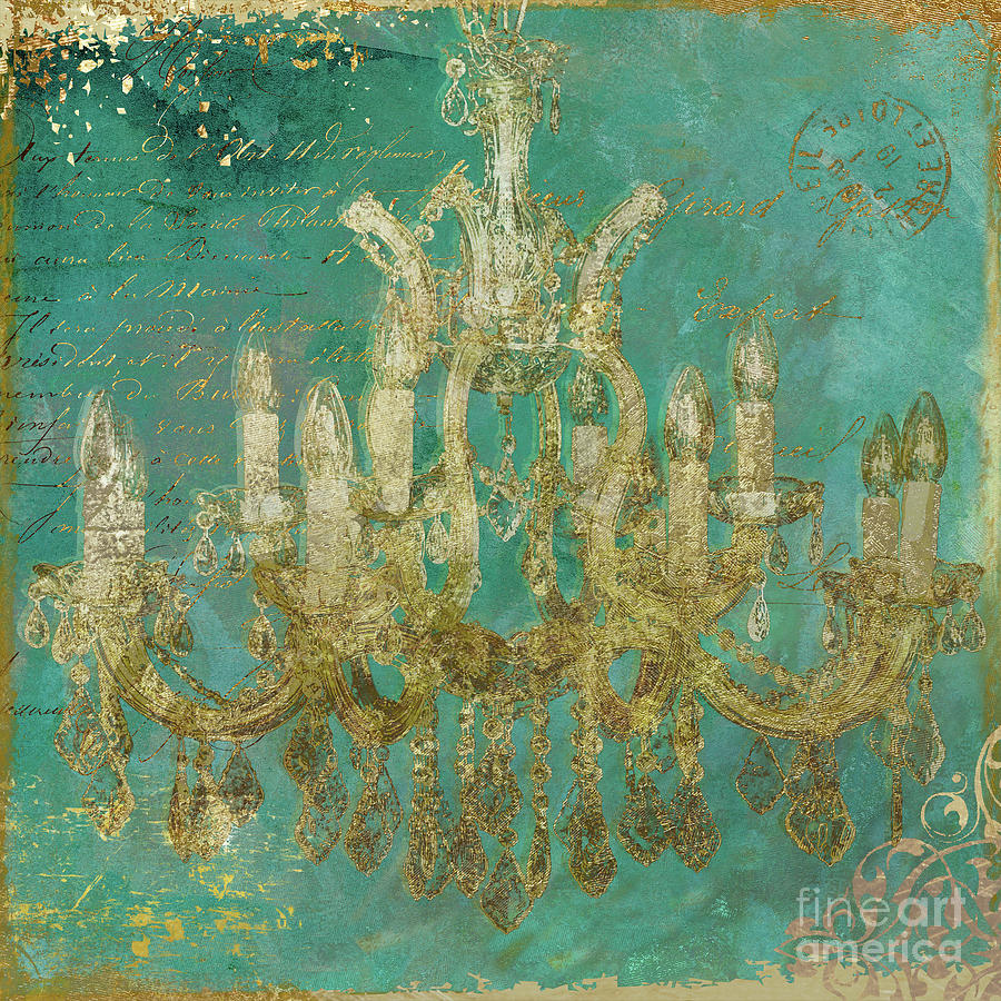 Teal Painting - Teal and Gold Chandelier by Mindy Sommers