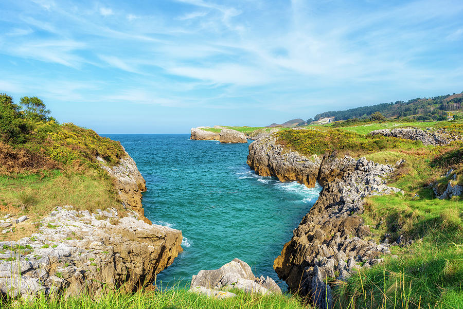 Color Photograph - The Cantabrian Coast By Llanes, Asturias In Spain by Vicen Photography