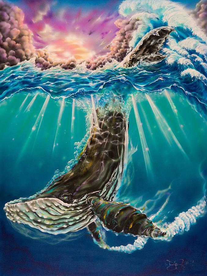 Aloha Painting - The Dive by Joel Salinas III