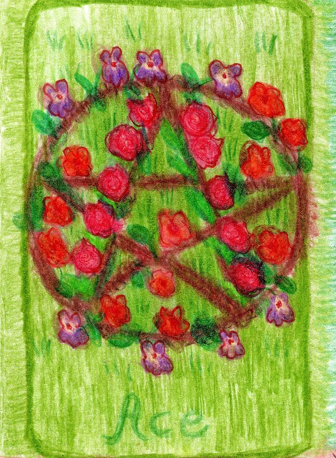 Tarot Drawing - The Glowing Tarot Pentacles 1 by Sushila Burgess