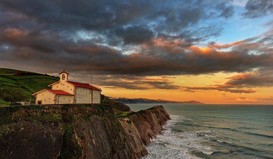 The hermitage of San Telmo at sunset in Zumaia by Vicen Photography