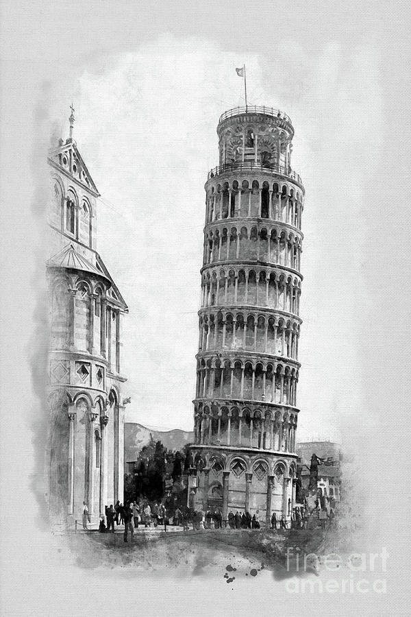 The Leaning Tower Painting