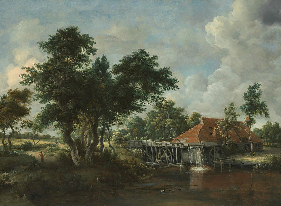 The Watermill with the Great Red Roof, 1665-1675 by Meindert Hobbema