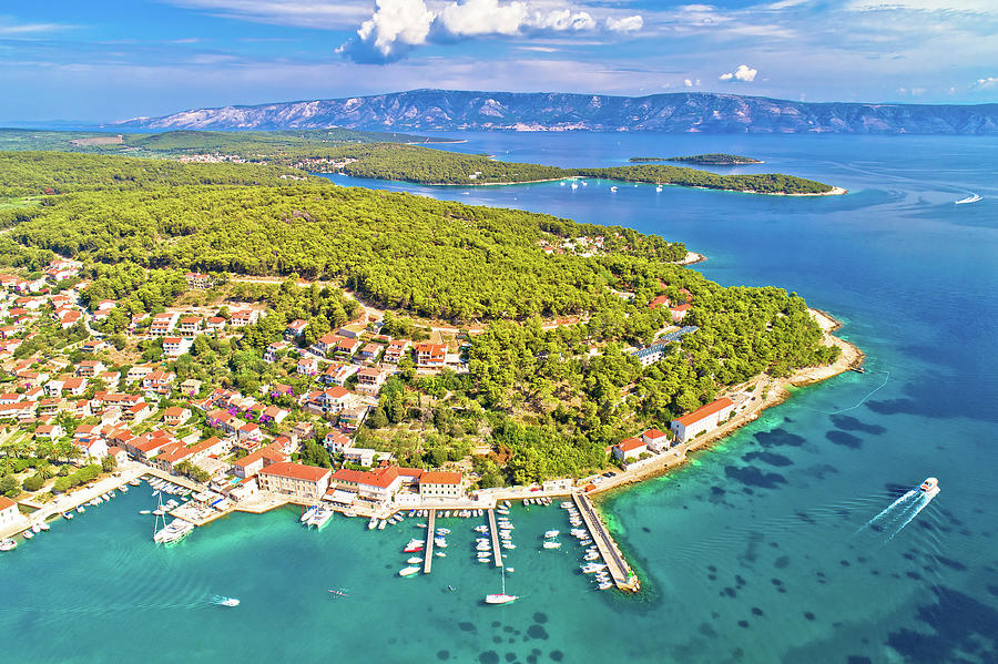 Town Of Jelsa Bay And Waterfront Aerial View Photograph