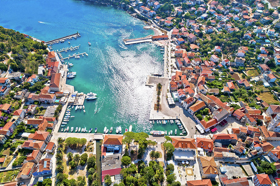 Hvar Photograph - Town of Jelsa bay and waterfront aerial view, Hvar island by Brch Photography