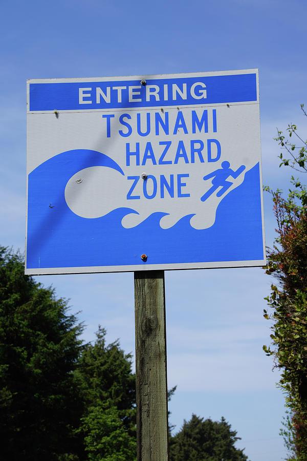 tsunami emergency sign photograph by steve estvanik
