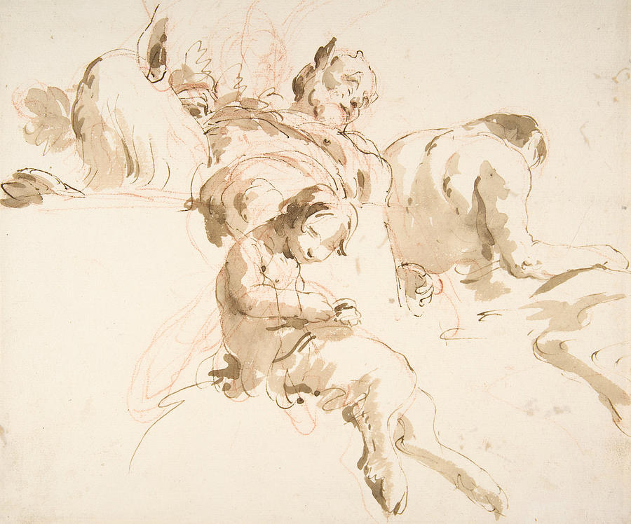 Italian Painters Drawing - Two Seated Satyrs And A Child Satyr 1 by Giovanni Battista Tiepolo