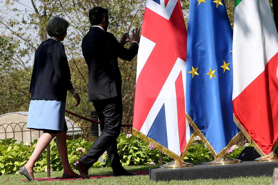 UK PM Teresa May Holds Talks With Italian PM Matteo Renzi Photograph by Franco Origlia