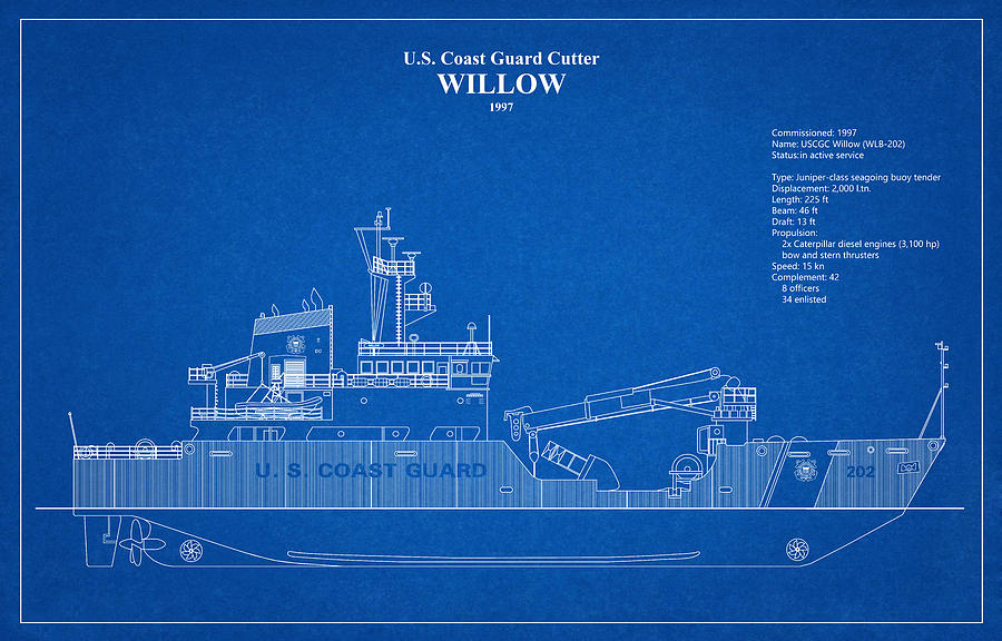 b01 - United States Coast Guard Cutter Willow wlb-202 by JESP Art and Decor