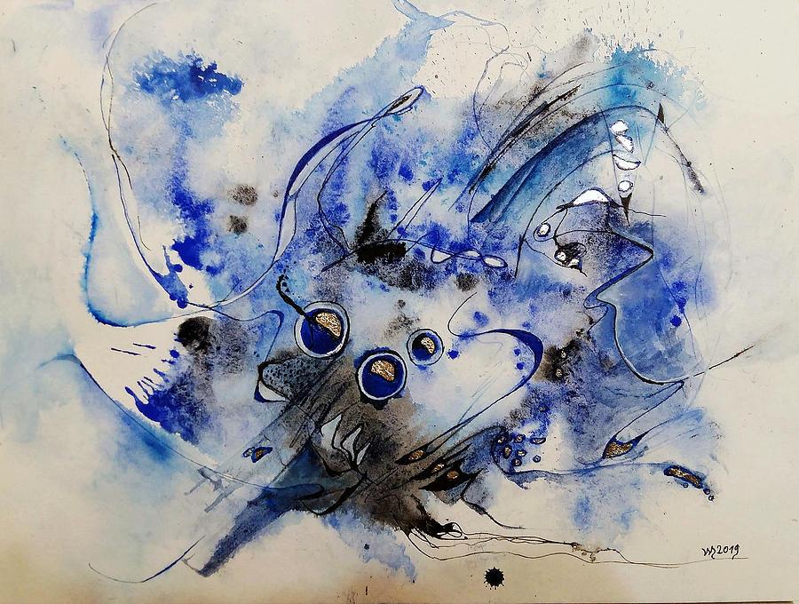 Abstract Watercolors Mixed Media - Usambo Molusaga by Wolfgang Schweizer