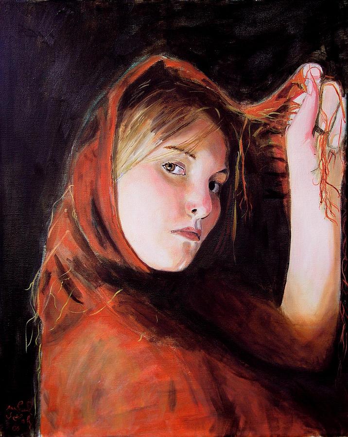 Portrait Of Woman Painting - Vermeers Daughter by Jean-Paul Setlak