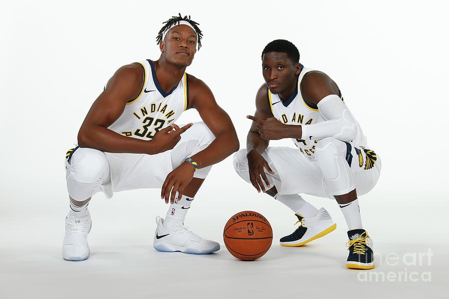Victor Oladipo and Myles Turner Photograph by Ron Hoskins