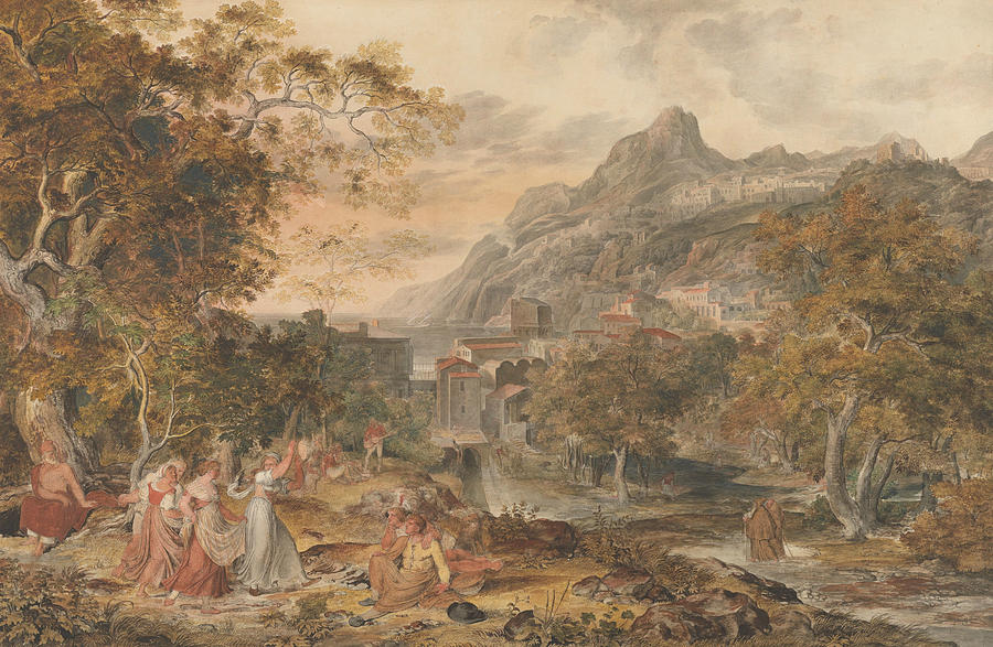 View of Vietri with Young Country Women Dancing for Shepherds in the Foreground by Joseph Anton Koch