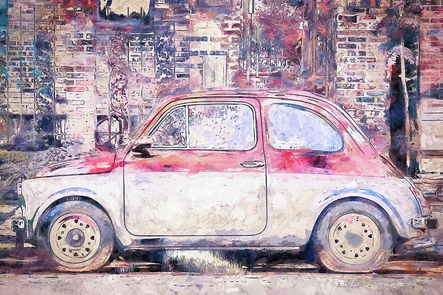 Vintage Fiat 500 Digital Art