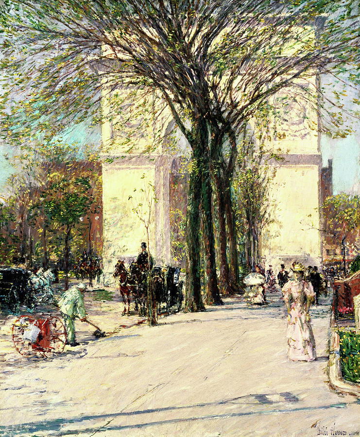 Washington Arch Painting - Washington Arch, Spring - Digital Remastered Edition 1 by Frederick Childe Hassam