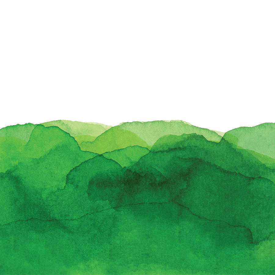 Watercolor Green Waves Background Drawing by Saemilee