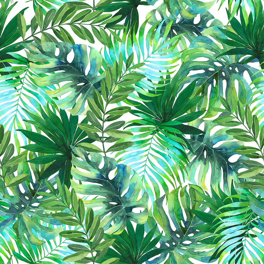 Watercolor Tropical Leaves Pattern Drawing