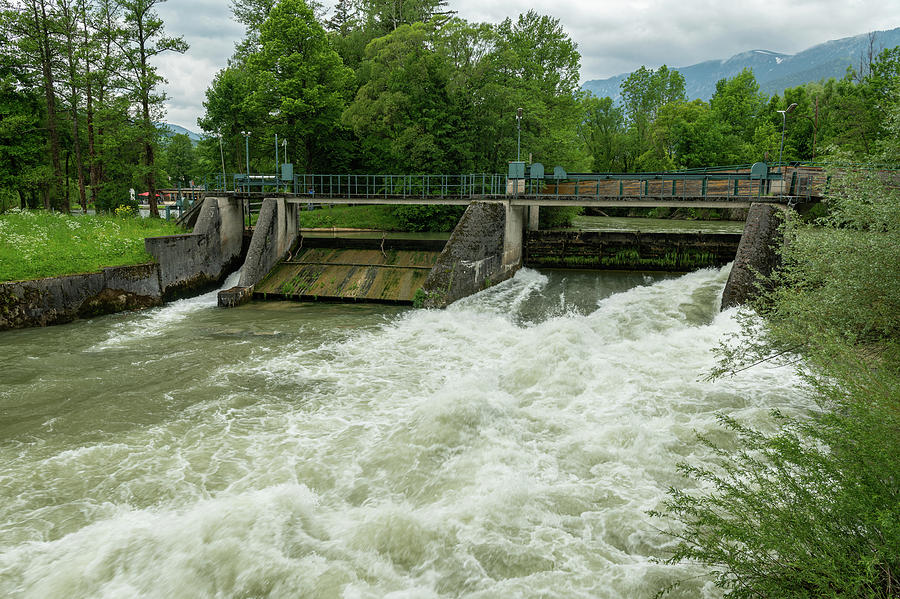 Weir On The River Schwarza In Reichenau On A Cloudy Day In Summer Photograph