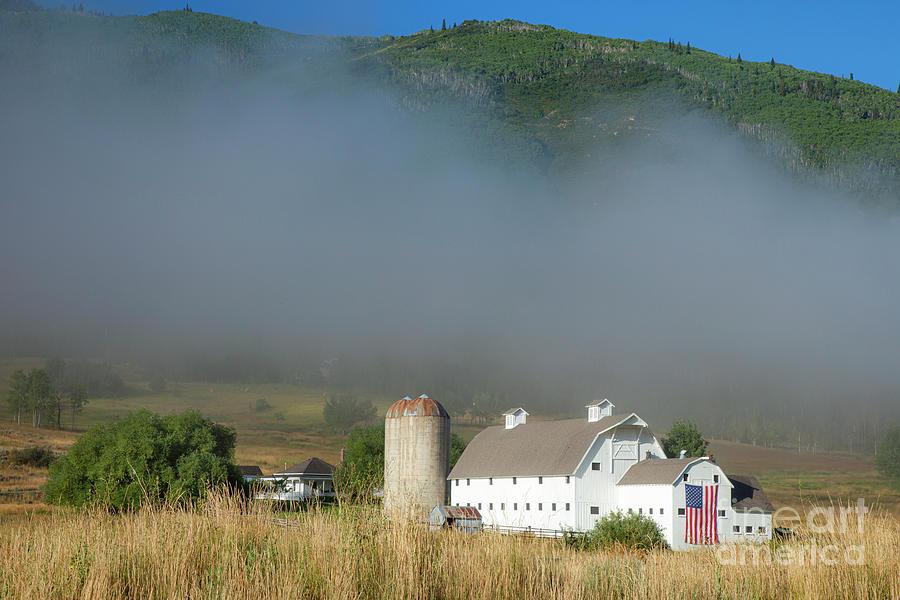 White Barn - American Flag - Foggy Utah IIi Photograph