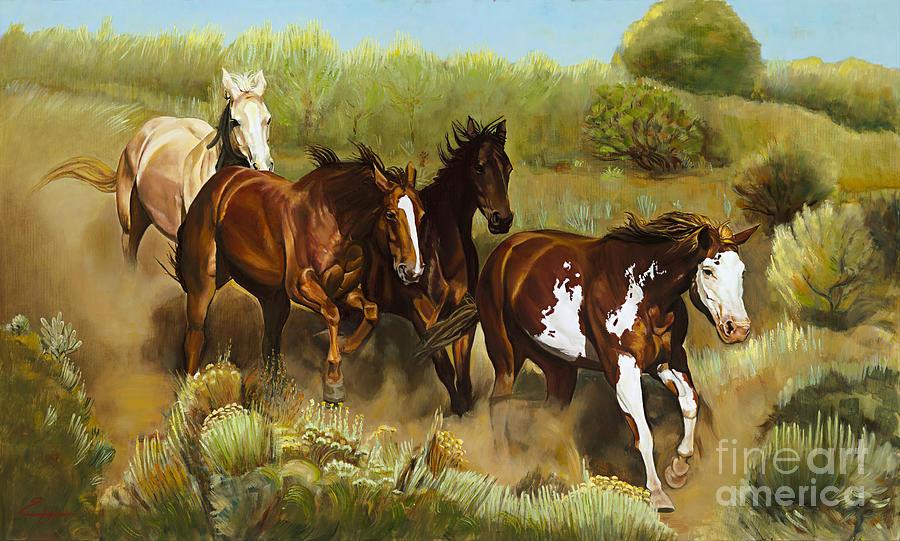 Horses Painting - Wild Horses by Ekaterina Stoyanova