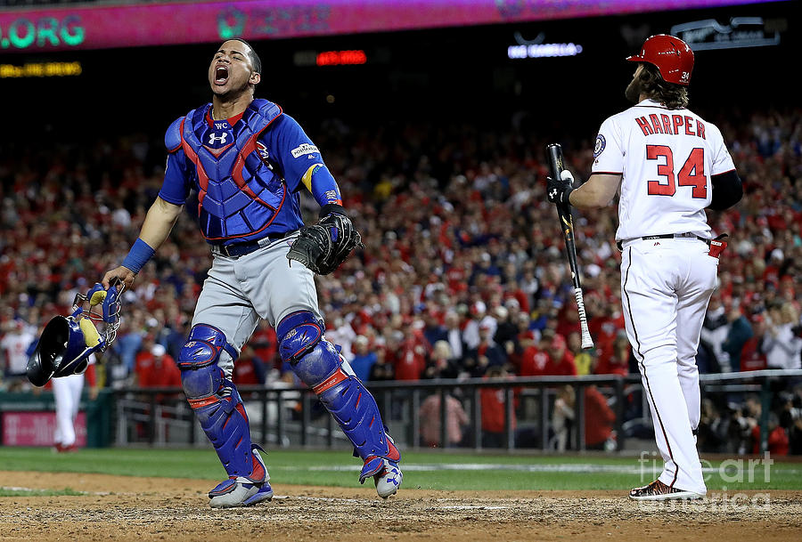 Willson Contreras and Bryce Harper Photograph by Win Mcnamee