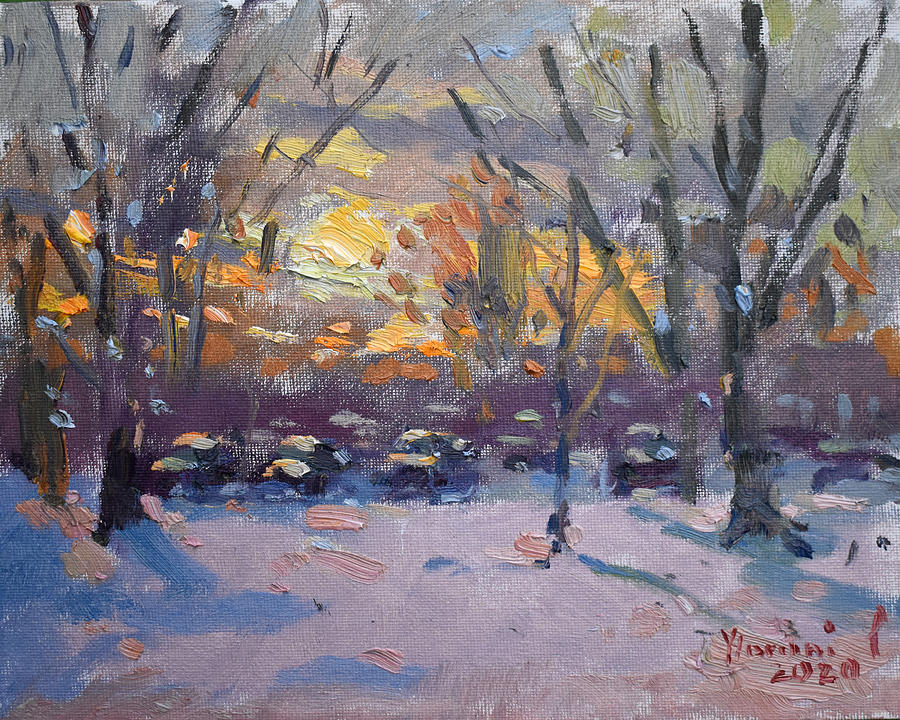 Snow Painting - Winter Sunset by Ylli Haruni