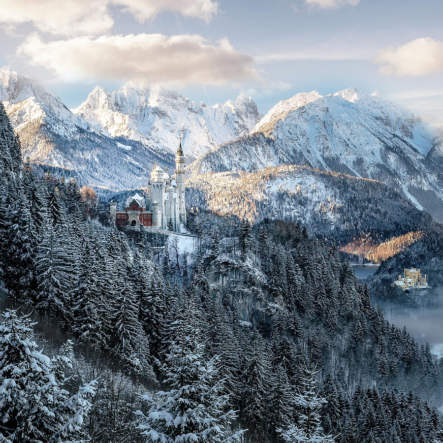Wintry View Of Neuschwanstein Castle In The Bavarian Alps Germany Pyrography By Christian Mueringer