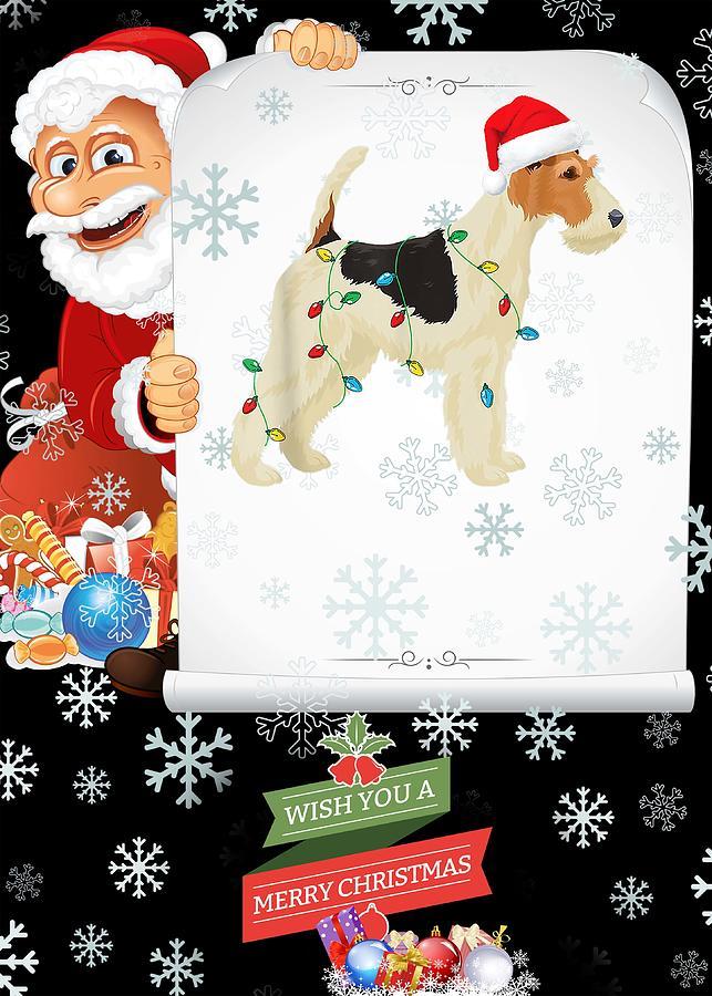 Wire Fox Terrier Christmas Lights Santa Hat Dog Xmas Gift T-Shirt Birthday Gift