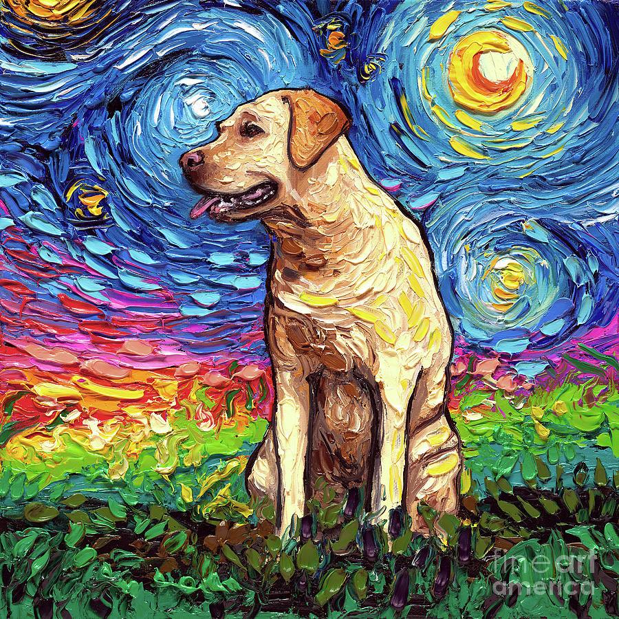 Labrador Painting - Yellow Labrador Night by Aja Trier