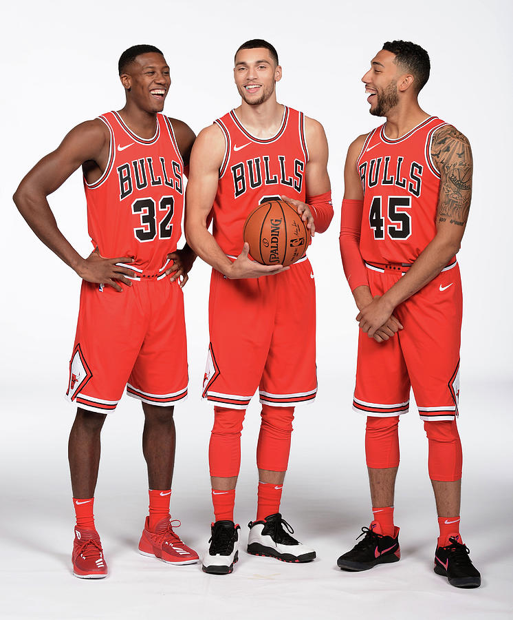 Zach Lavine, Kris Dunn, and Denzel Valentine Photograph by Randy Belice