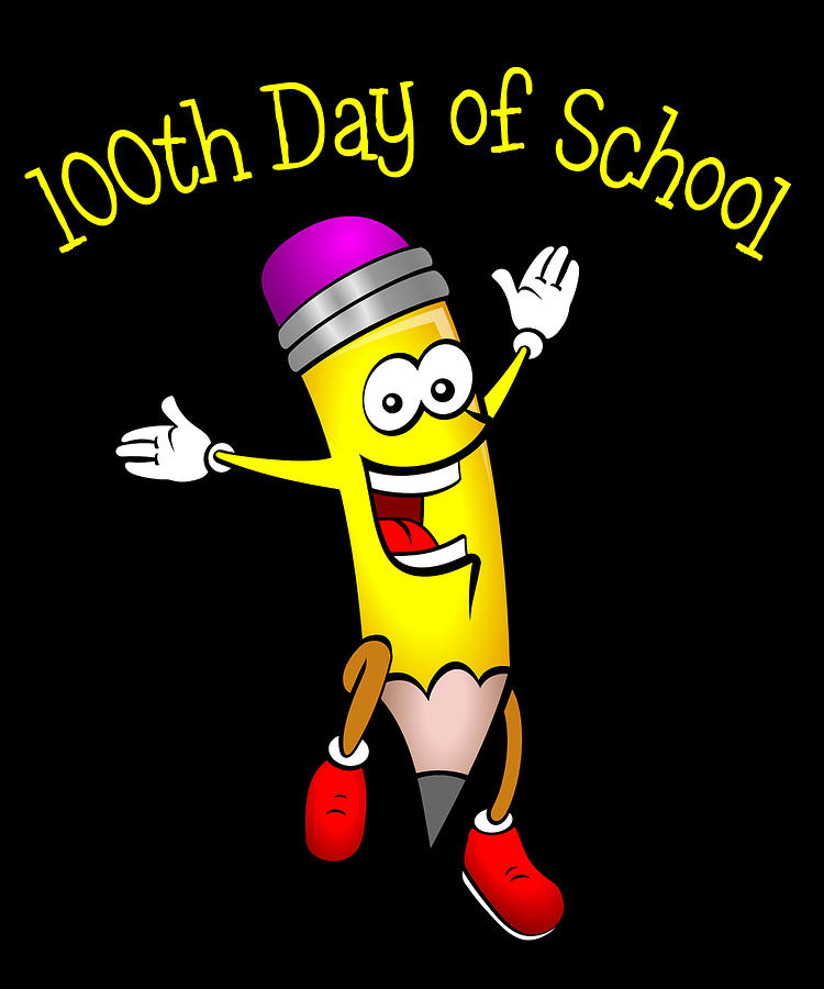 Schools Digital Art - 100 Days of School by Flippin Sweet Gear
