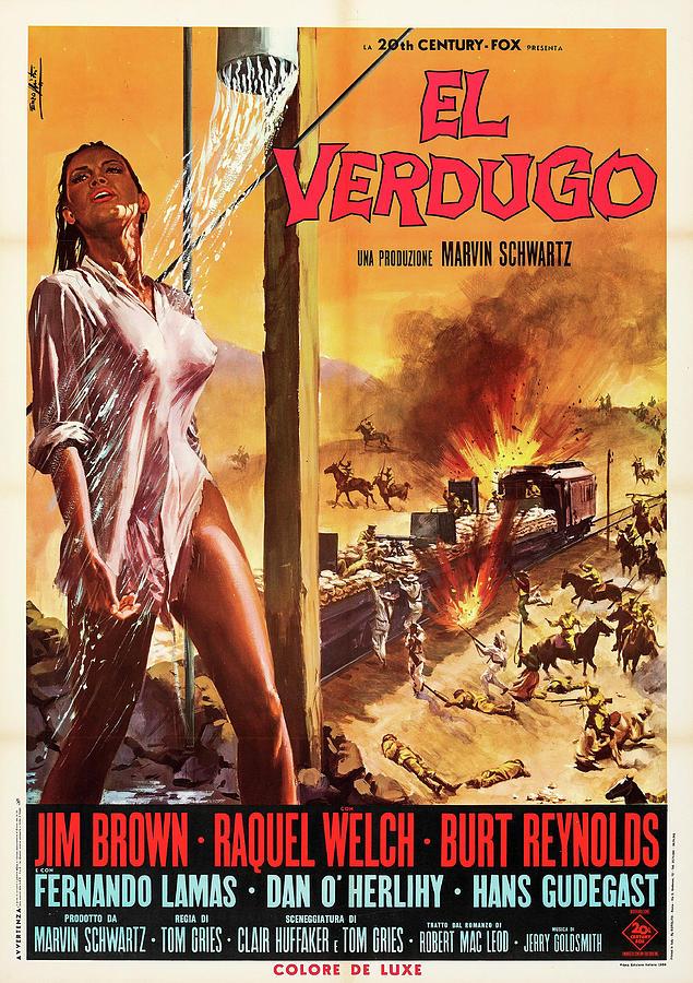 100 Rifles Poster 1969 Mixed Media
